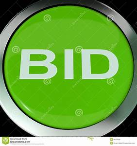 Bid Button Shows Online Auction Or Bidding Royalty Free ...