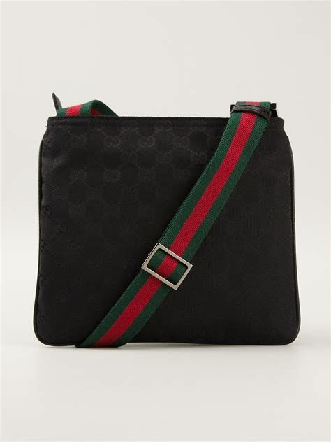 lyst gucci monogram crossbody bag  black  men