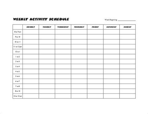 activity calendar template weekly activity calendar template images