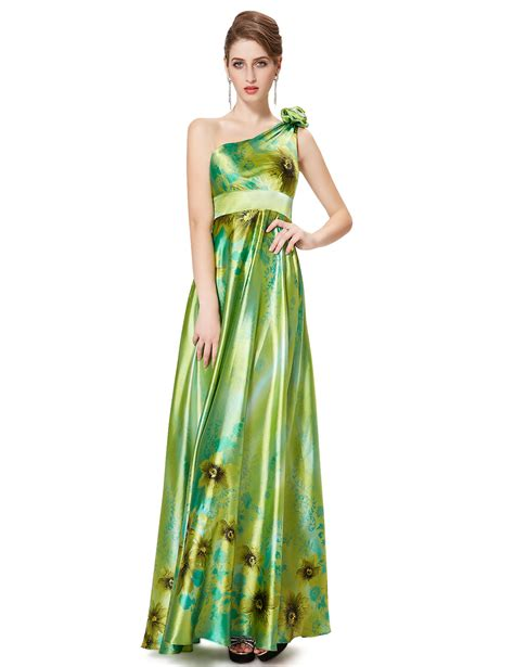 Womens One Shoulder Long Floral Formal Evening Party
