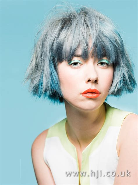 short messy textured bob hairstyle  blue grey
