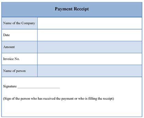 receipt  payment template printable receipt template