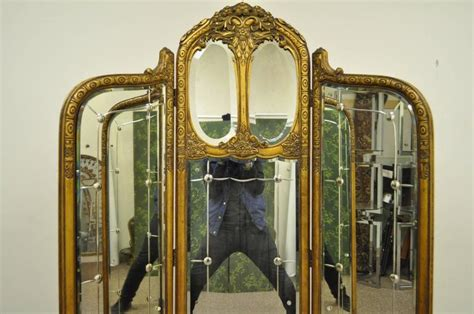 French Louis Xv Style Three Section Gold Gilt Wood Mirror