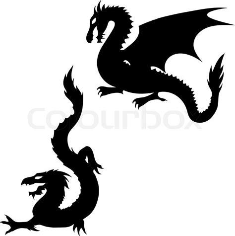 dragon silhouettes stock vector colourbox