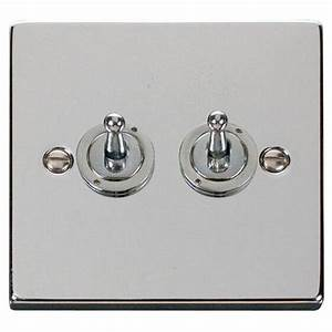 Click Deco 2 Gang Double Toggle Light Switch Victorian Polished Chrome