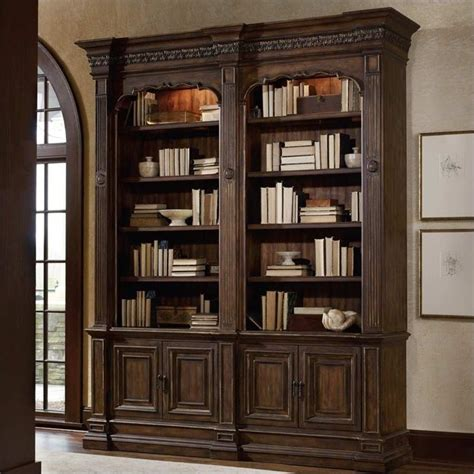 bookcase with ladder and rail hooker furniture adagio double bookcase without ladder and