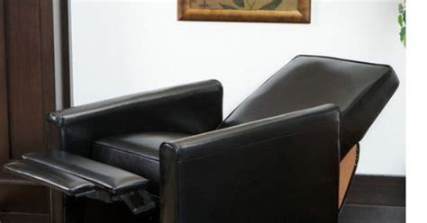leather recliner chair black living room foot rest theater