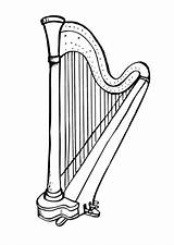 Harp Coloring Drawing Pages Printable Hemoglobin Stings Dancing Edupics Low sketch template