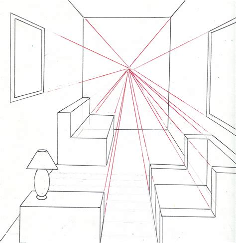How To Draw A Room Using One Point Perspective - 7