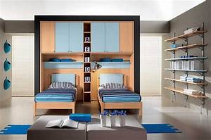 modern-kids-bedroom-with-blue-double-bed-and-wooden ...