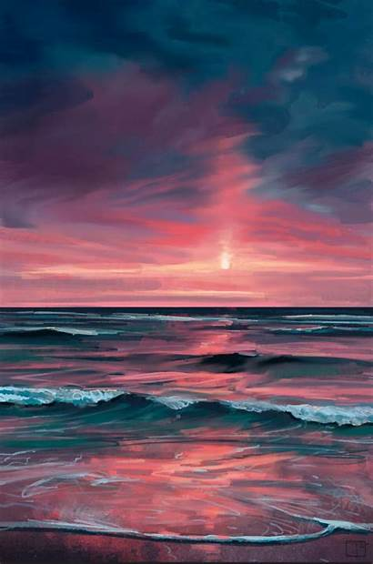 Sunset Painting Superphazed Abstract Canvas Acrylic Ocean
