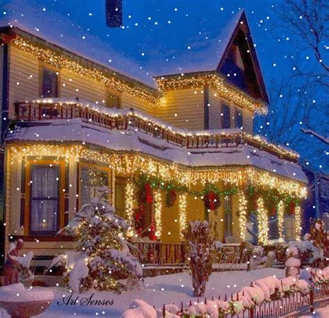 christmas houses in snow gif find on giphy