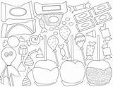 Candy Halloween Clip Coloring Teacherspayteachers Hard Corn Apples sketch template