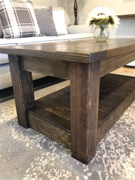 The overall dimensions of the coffee table are 54″ l x 29″ w x 18″ h. Chunky farmhouse coffee table, clean lines 36 inches in 2020 (With images)   Coffee table ...