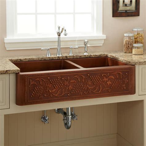 42 quot heartridge 60 40 offset bowl copper farmhouse sink kitchen