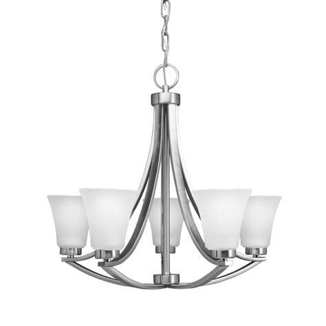 Lowes Canada Dining Room Lights by Shop Portfolio Lyndsay 24 In 5 Light Satin Nickel Etched