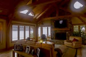 timber frame home interiors overlooking canandaigua lake this timber frame hybrid home 39 s great room opens to panoramic lake