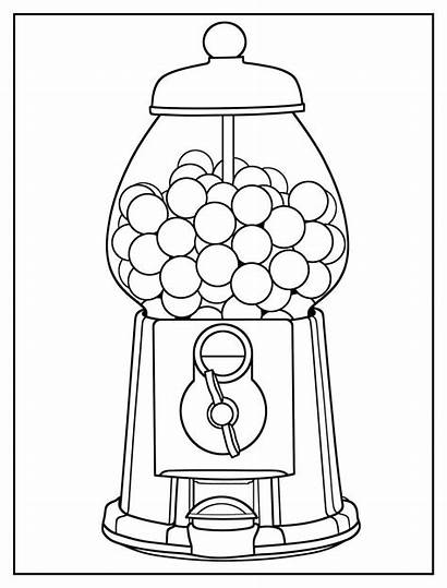Coloring Gumball Machine Easy Pages Colouring Sheets
