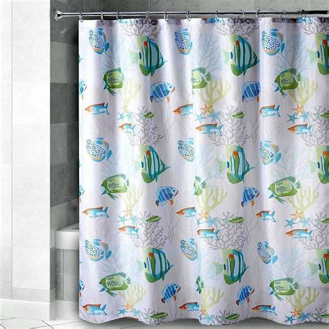 Coastal Shower Curtain by Quot Watercolor Fish Quot Coastal Nautical 72 Quot X 72 Quot Fabric Shower