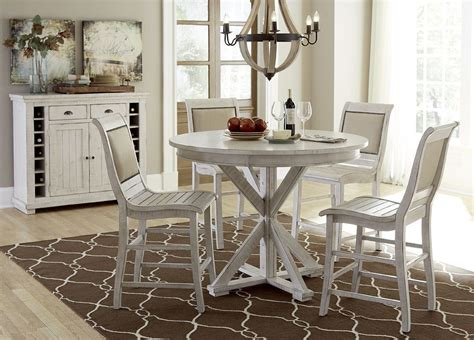 willow distressed white  counter height dining room