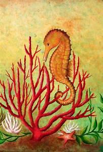 Seahorse And Coral by Gabriela Valencia