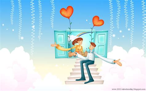 cute cartoon couple love hd wallpapers  valentines day