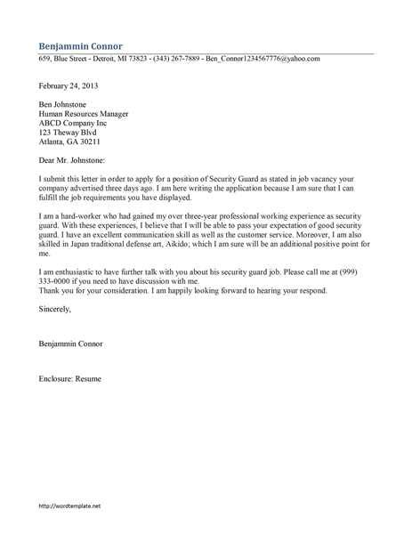 security guard cover letter sle source
