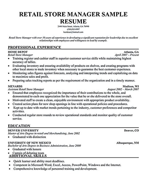 retail store executive resume retail manager resume exles retail manager resume is made for those professional employments