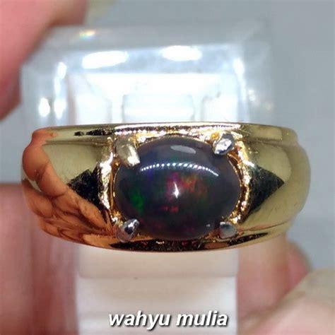 cincin batu akik black opal kalimaya hitam asli kode 1086 wahyu mulia