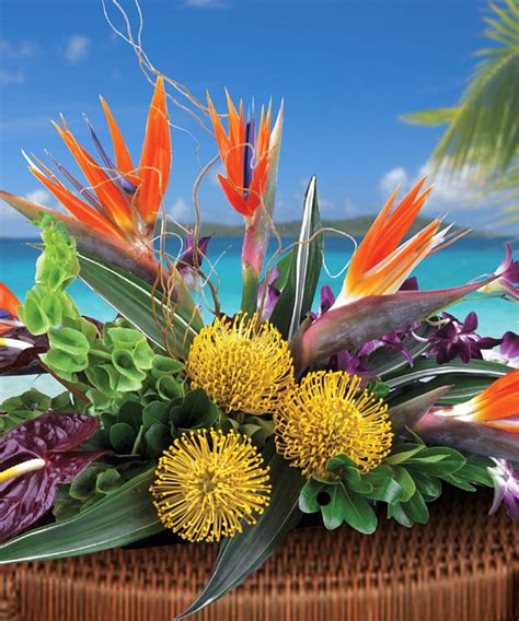 tropical centerpieces featuring exotic greenery