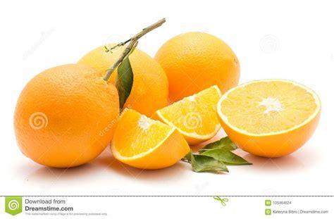 Sliced Orange Fruit With Leaves Isolated White