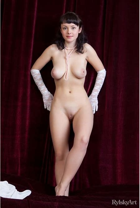 Busty Mireille looks so classy and beautiful with those gloves and pearls | Nextdoor Mania