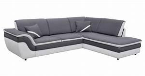 Canapé D Angle Convertible Blanc : canap d 39 angle droit convertible quinn gris blanc canap but ~ Teatrodelosmanantiales.com Idées de Décoration