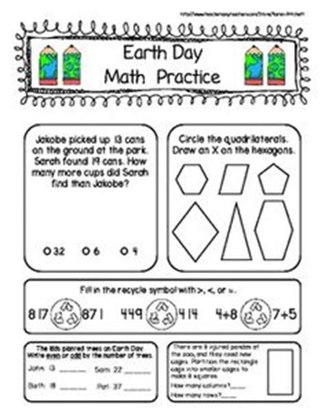 earth day math and ela morning work pack aligned with