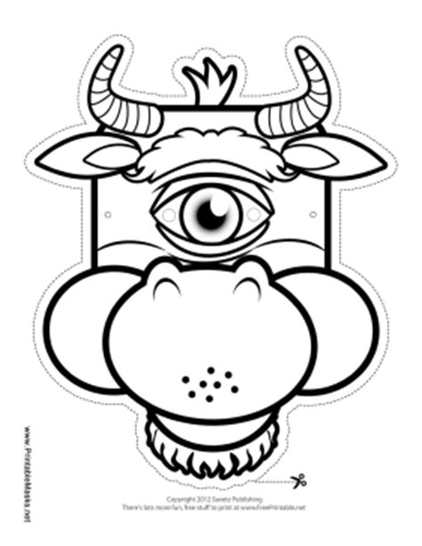 Printable Cyclops Minotaur Mask To Color Mask