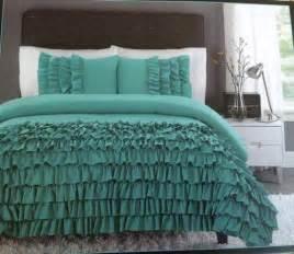 new cynthia rowley xl comforter set ruffles teal turquoise xl turquoise