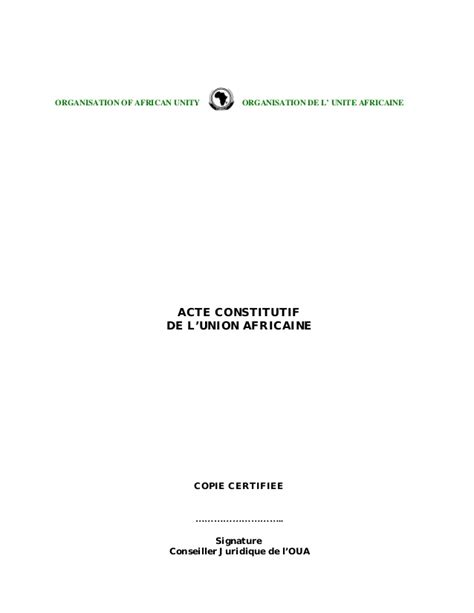 si鑒e union africaine acte constitutif de l union africaine