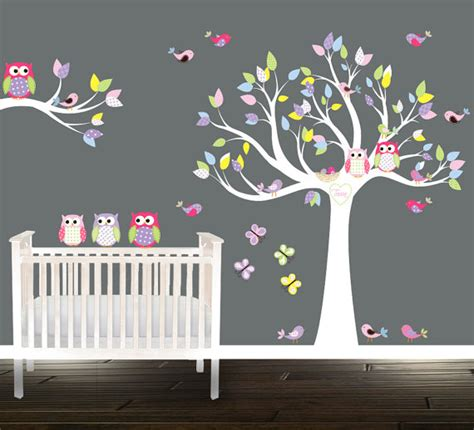 stickers chambre bebe arbre tree owl wall stickers wall tree decal nursery tree birds