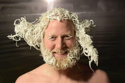brrrr   crazy hair freezing contest