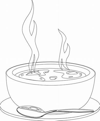 Soup Clipart Bowl Chicken Coloring Transparent Dishes