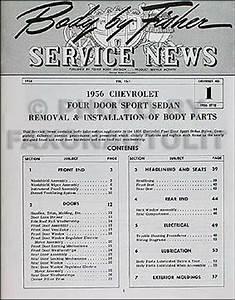 1956 Chevy 4 Door Hardtop Body Shop Manual 56 210 Bel Air Sport Sedan Repair