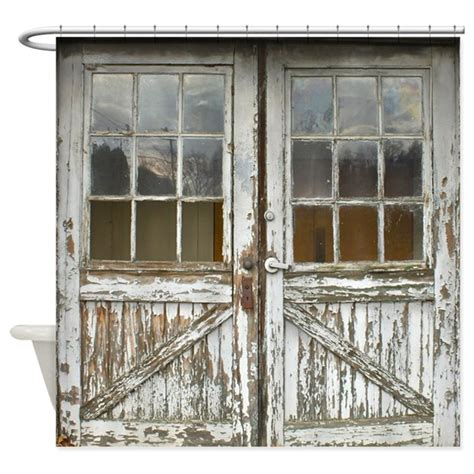 vintage wood doors shower curtain by