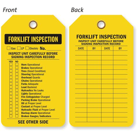 forklift inspection tag required tag holder