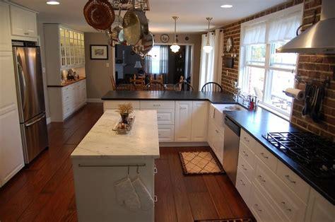 narrow kitchen with island ikea lidingo diy kitchen remodel w farmhouse sink soapstone and butcherblock countertops diy