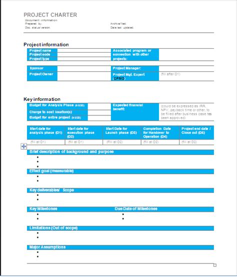 Project Charter Pmp Template by Project Management Project Charter Sle 1