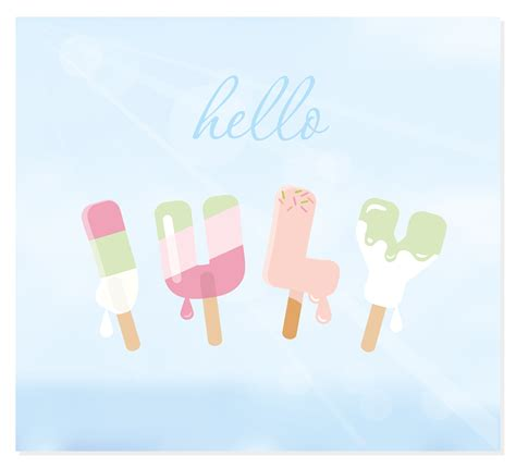 Hello july letters on blurred sky background. - Download ...