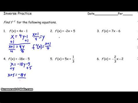 Inverse Function Worksheet Examples Youtube