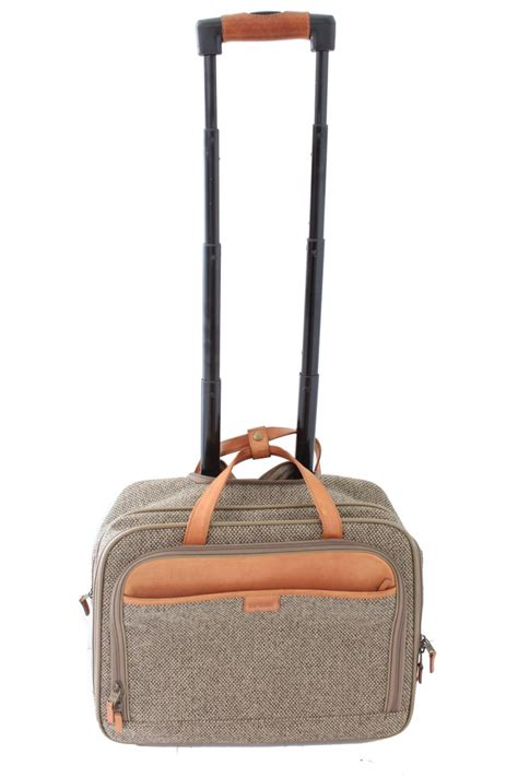 vintage hartmann small roller bag carry  suitcase luggage tweed  leather   stdibs