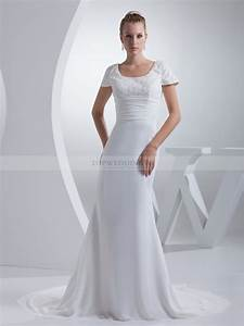 beaded short sleeve chiffon wedding dress with pleated waist With wedding dress with short sleeves