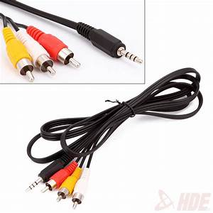 3ft 3 5mm Plug Auxiliary Aux To 3 Rca Av Audio Video Tv